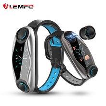 LEMFO LT04 T90 Fitness Armband Drahtlose Bluetooth Kopfhörer 2 In 1 Bluetooth 5,0 IP67 Wasserdichte Sport Smart Uhr für Männer