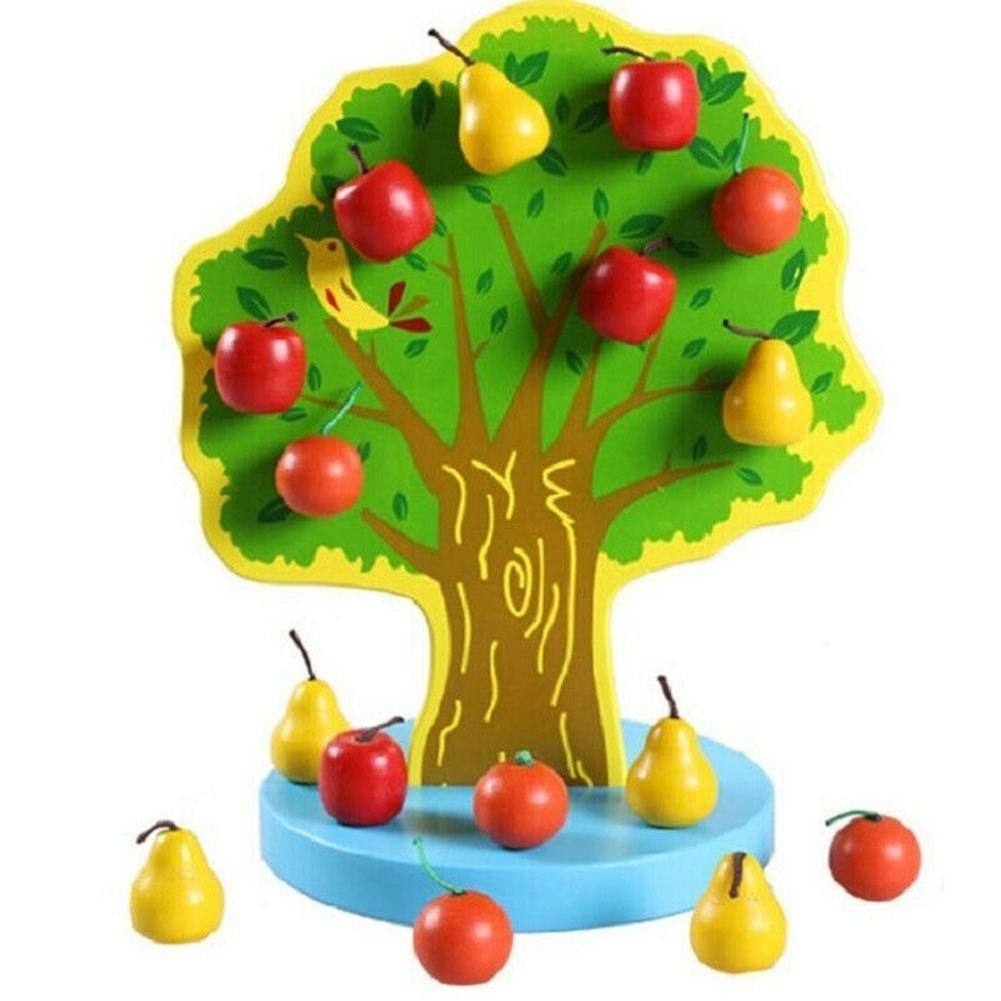 Montessori Educational Wooden Magnetic Apple Fruit Tree DIY Building Blocks Kit Kids Toy Wonderful Gifts Toys