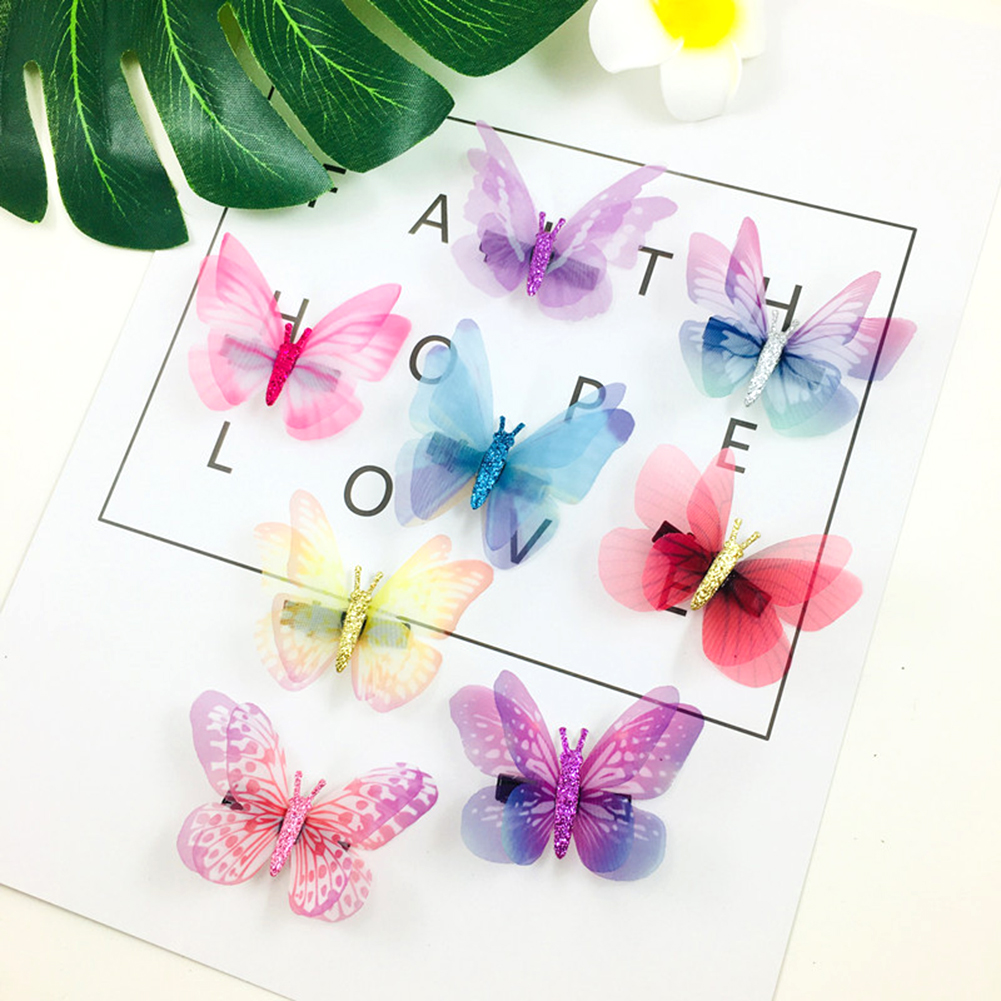 1Pcs/Pack New Fashion Design Girls Beautiful Colorful Simulation Butterfly Hair Clips Sweet Kids Hair Accessories