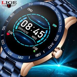 Мужские Смарт-часы LIGE со стальным ремешком, пульсометр, монитор артериального давления, спортивный многофункциональный режим, фитнес-треке...