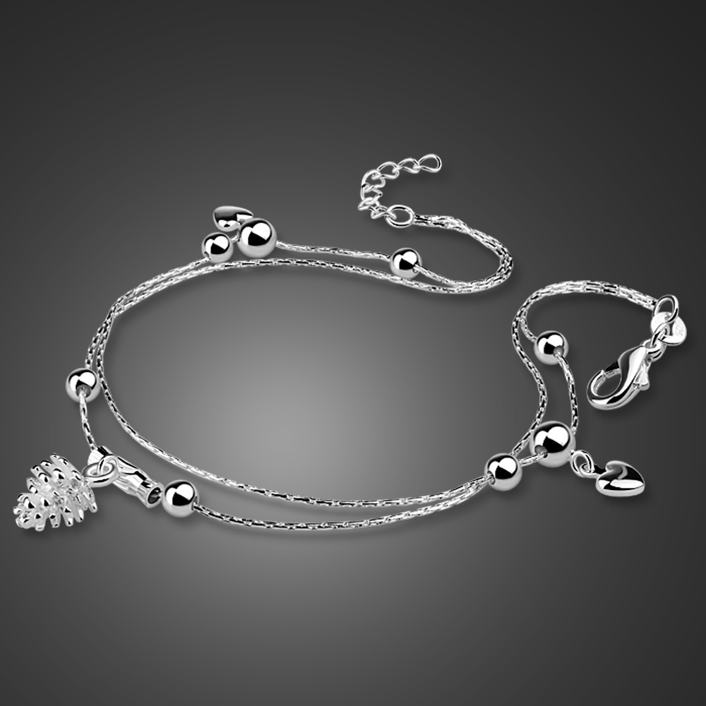 Cute silver jewelry 925 sterling silver anklet pineapple pendant design solid silver anklet girl charm jewelry birthday present