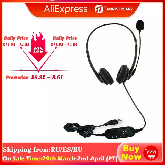 Wired Headphone USB Headset HD Lossless Sound Earphone Adjustable with Microphone for Computer PC Laptop Noise Cancelling ABS 1