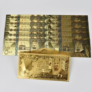 10pcs/lot Saudi Arabia Colored Gold Banknote 500 Riyals Plated Banknote With gold foil envelope Packaging for Collection Gifts