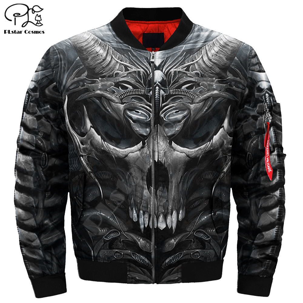 Mens Unisex 3d Bomber Jackets Trippy Skull Head Print Zipper Flight Jacket Casual Unisex Harajuku Women Streetwear Thick Coat