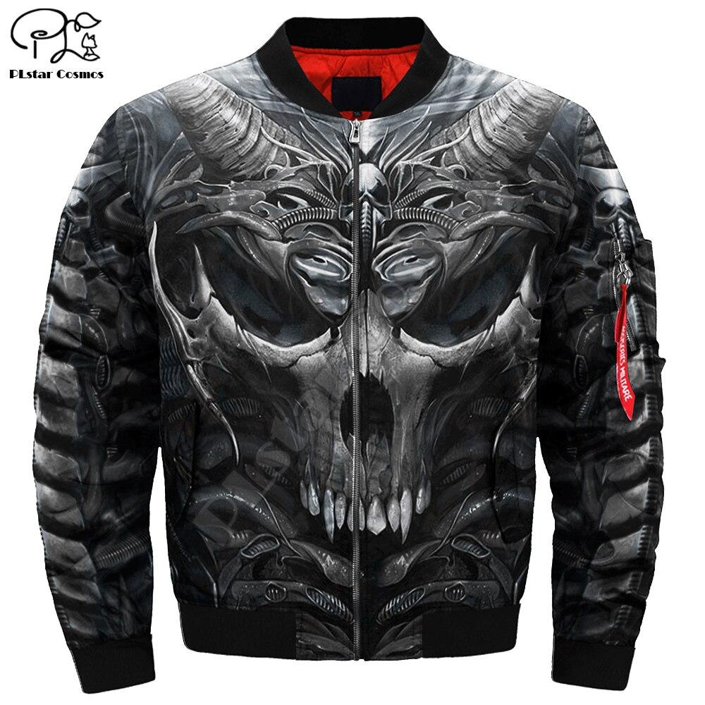 Mens Unisex 3d Bomber Jackets Trippy Skull Head Print Zipper Flight Jacket Casual Unisex Harajuku Women Streetwear Thick Coat