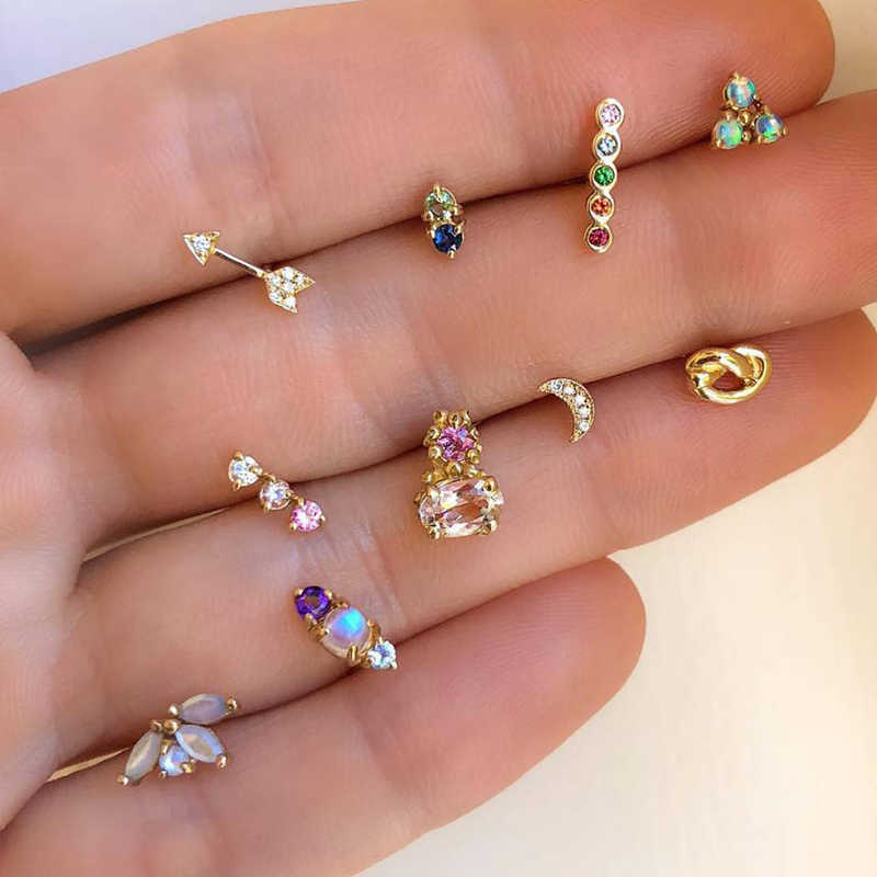 Yobest Fashion Silver Gold Color Stud Earirngs Sets For Women Girls Cute Mini Heart Star Crystal Shape Ears Jewelry