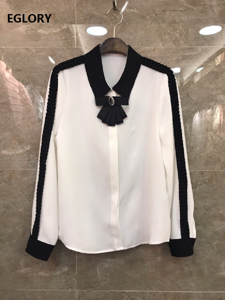 High Quality Runway Blouses 2020 Spring Summer Shirts Women Black Appliques Flower Patchwork Long Sleeve White Silk Shirts Bow