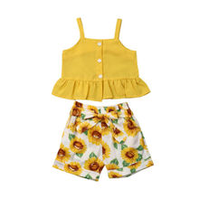 1-6Years  2PCS Infant Baby Girl Clothes Sunflower Sleeveless Vest Tops+Shorts Pants Outfit Set Sunsuit baby child girls kids clothing bow knot flower sleeveless vest t shirt tops ves shorts pants outfit girl clothes set 2pcs infant page 4 page 5