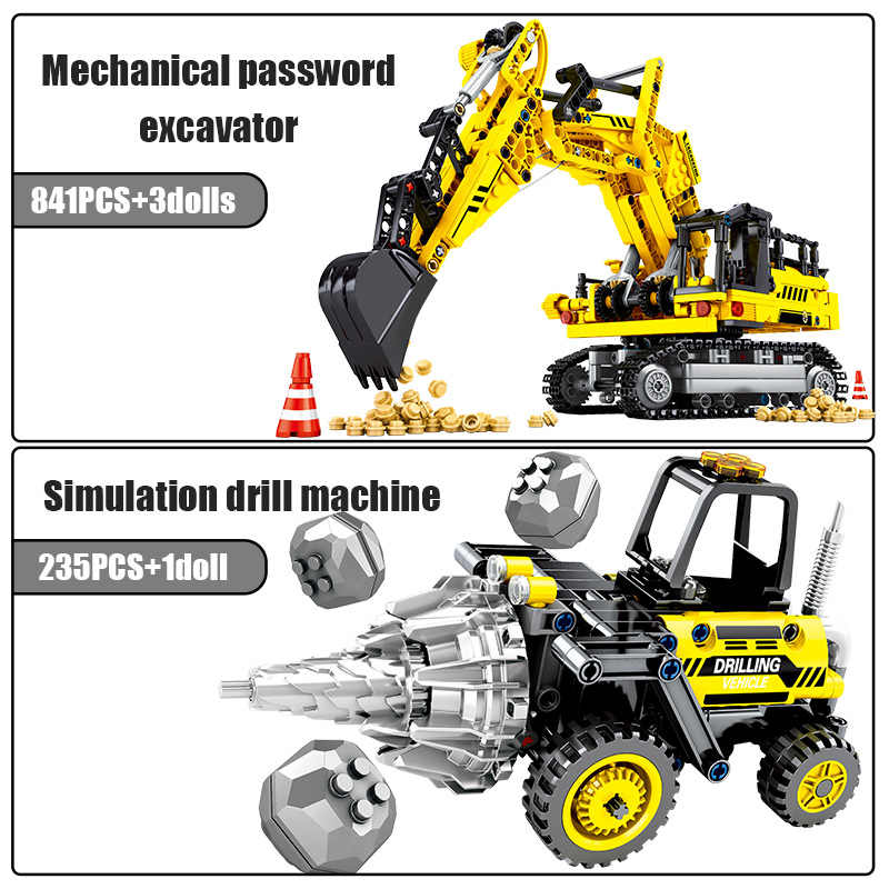 SEMBO BLOCK City Engineering Bulldozer Crane รถ Technic รถบรรทุก Excavator Roller อาคารบล็อกอิฐของเล่นก่อสร้าง