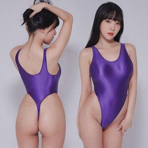 Image 2 - Leotardos de estilo Retro brillante para mujer, traje de baño femenino de dos piezas, de corte alto, con Tanga brillante