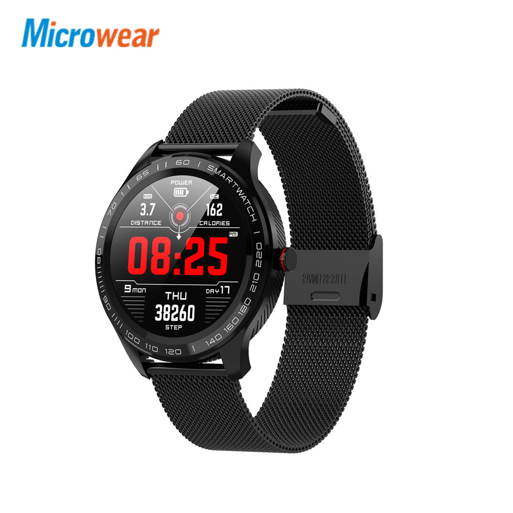 Microwear L9 Full <font><b>Round</b></font> Touch Screen Stainless Steel Bezel ECG Heart Rate O2 IP68 Facebook <font><b>Display</b></font> Business <font><b>Smart</b></font> <font><b>Watch</b></font> image