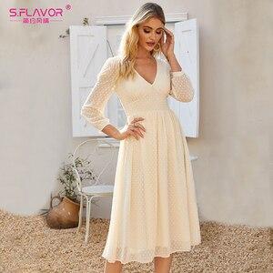 Image 5 - S. טעם אלגנטי V צוואר שיפון Midi שמלת עבור נשים בוהמי סגנון Slim חורף מסיבת Vestidos דה סתיו אונליין שמלות 2020