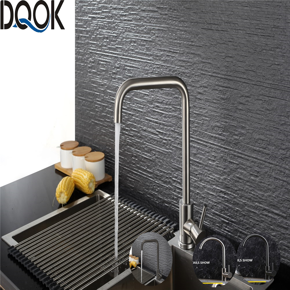 DQOK Black Kitchen Faucets Stainless Steel Kitchen Mixer Single Handle Single Hole Kitchen Faucet Brushed Nickle Mixer Sink Tap