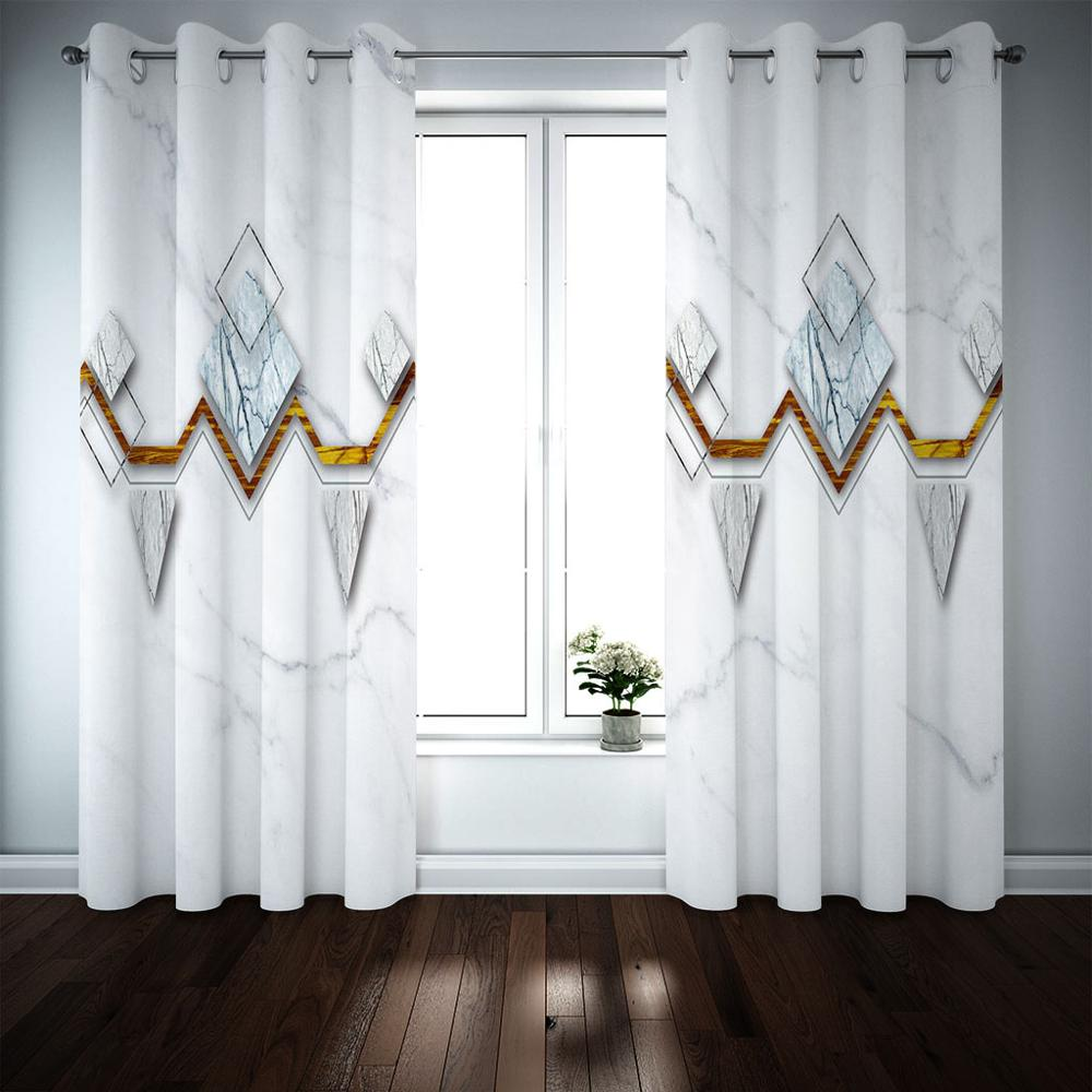 3D Curtains Bedroom Window Treatments Modern Luxury Curtains Blackout Photo Brief White Window Drapes