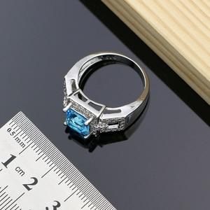 Image 4 - 925 argent Birdal Dubai bijoux ensembles Hyperbole bleu Zircon pierre pour les femmes fête boucles doreilles/pendentif/collier/anneaux