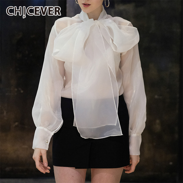 CHICEVER صيف أنيق أبيض شبكة منظور المرأة بلوزة القوس طوق فانوس كم فضفاض الإناث ملابس علوية 2020 جديد