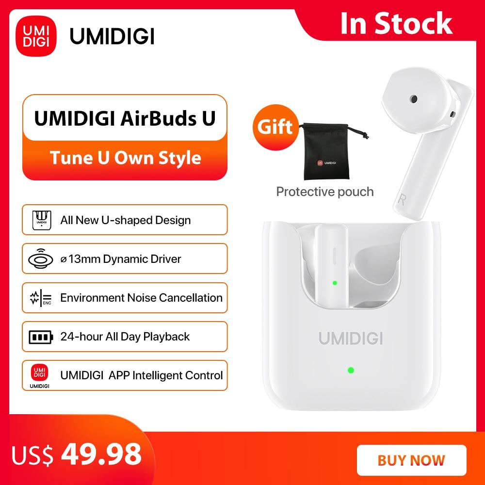 Беспроводные наушники UMIDIGI AirBuds U, TWS, Bluetooth 5,1, ENC, шумоподавление, 380 мАч, зарядная коробка, спортивные наушники с микрофоном