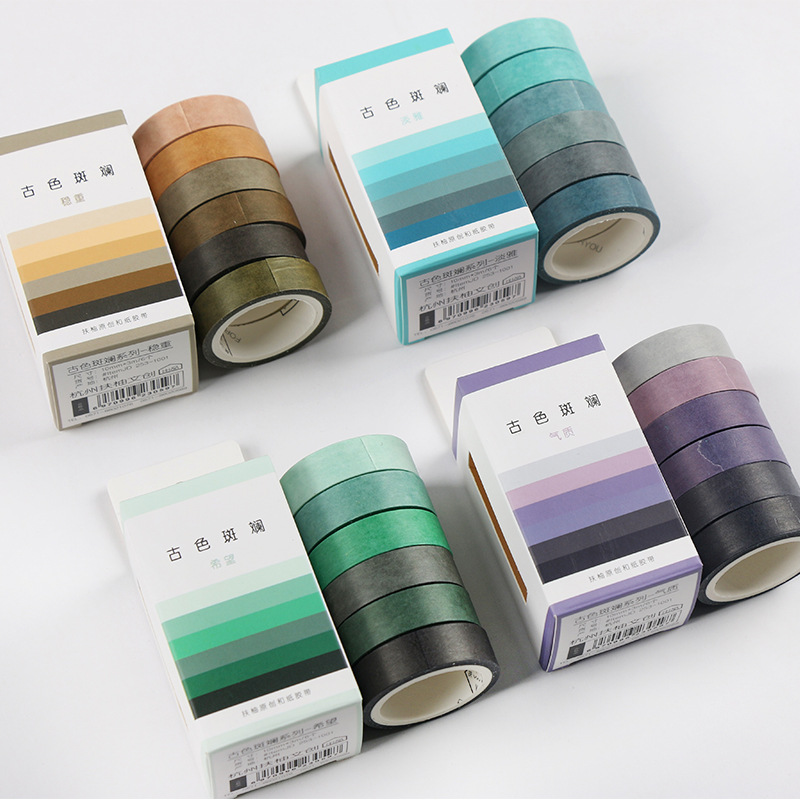 6 Rolls Vintage Washi Masking Tape Set Diy Craft Scrapbooking Diary Album Planner Journal Decorative Label School Stationery