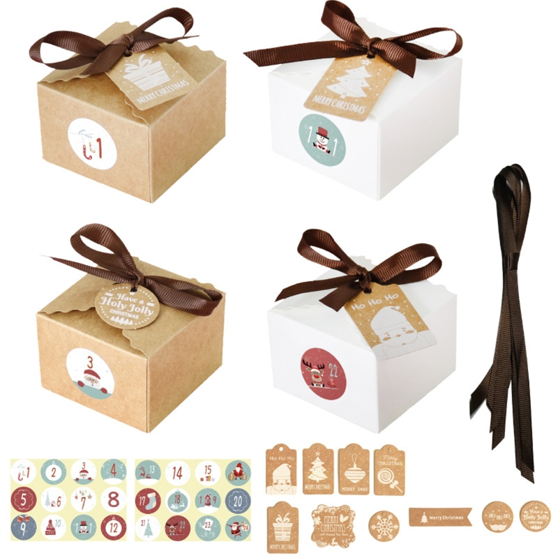 Christmas 1-24 Advent Calendar Kraft Paper Candy Box with Tags Stickers Ribbon Gift Storage Xmas Tree Decoration Party Supplies
