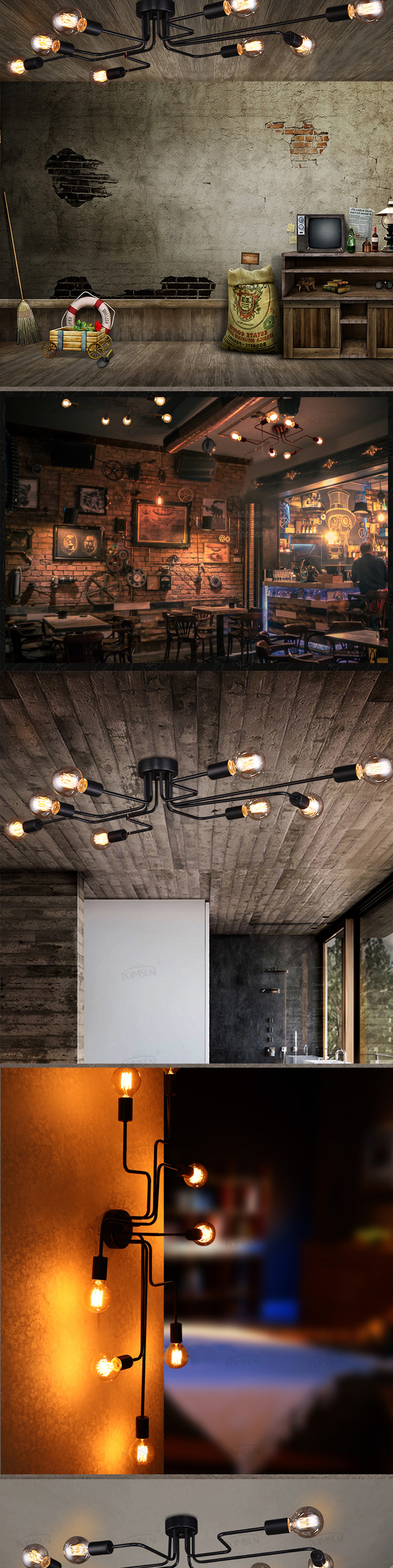 H02324d8a5c2c4820b0f9df13f9ffa207U vintage ceiling lights 8 heads retro industrial lamparas de techo restaurant loft modern ceiling lamp bar cafe dining room light