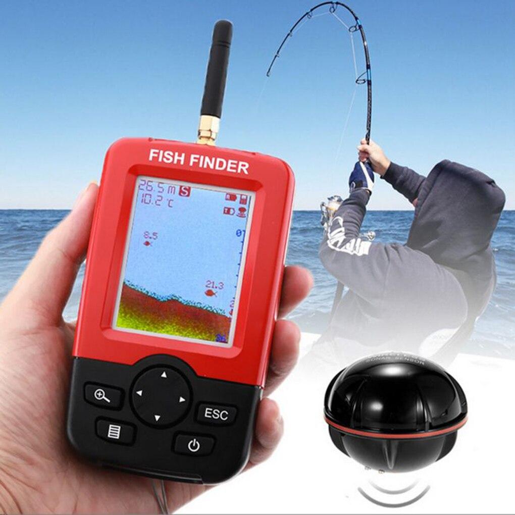 Inteligentny przenośny lokalizator ryb głębokości z 100M bezprzewodowym echosonda echosonda LCD echosonda do połowów morskich nad jeziorem