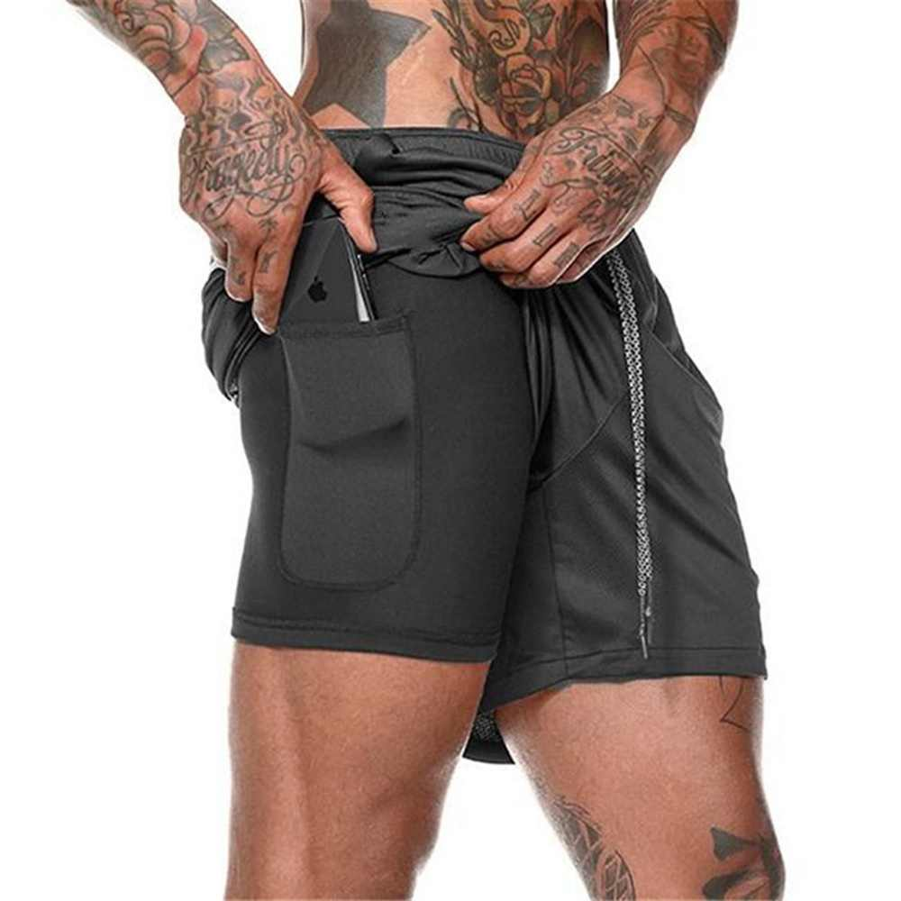 New Mens Double layer Phone pocket Running Shorts Gym Fitness ...