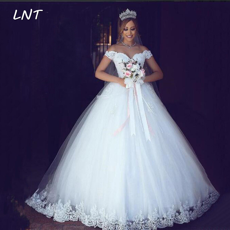 Off The Shoulder Princess Wedding Dresses Corset Bridal Gowns With Sequins