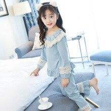 Pajamas Clothing Teenage Princess-Style Little-Girl Children Lace Sweet 2-Piece
