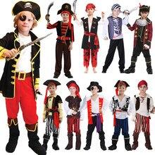 Детский костюм пиратский с туфлями на Хэллоуин, шапка, ремень, бальные костюмы, костюмы для мальчиков и девочек, комплекты одежды пиратского...