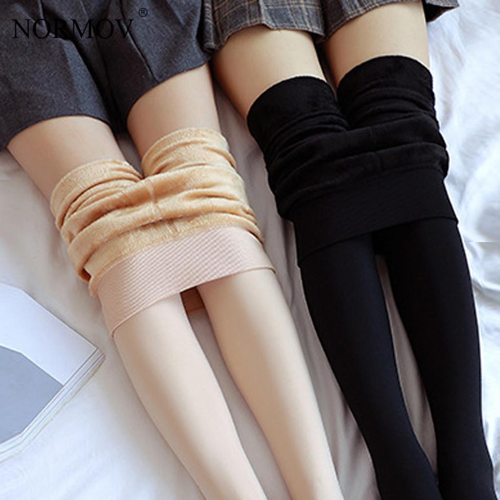 NORMOV hiver Leggings épais pour les femmes Super Stretch taille haute Plus velours Leggings femmes décontracté couleur unie chaud Legins