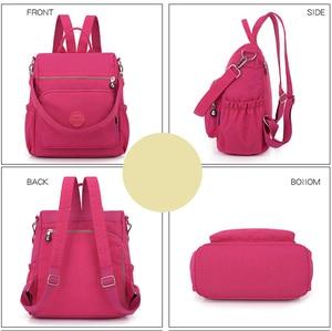 Image 4 - 3 1 여자 배낭 솔리드 패션 학교 가방 여자 나일론 방수 대학생 배낭 어깨 여행 인과 가방