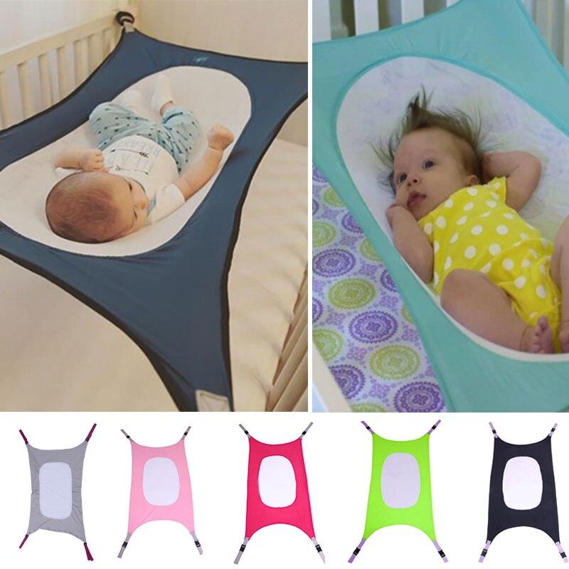 Infant Baby Hammock Swing Newborn Kid Sleeping Bed Safe Detachable Baby Cot Crib Swing Elastic Hammock Adjustable Net Portable