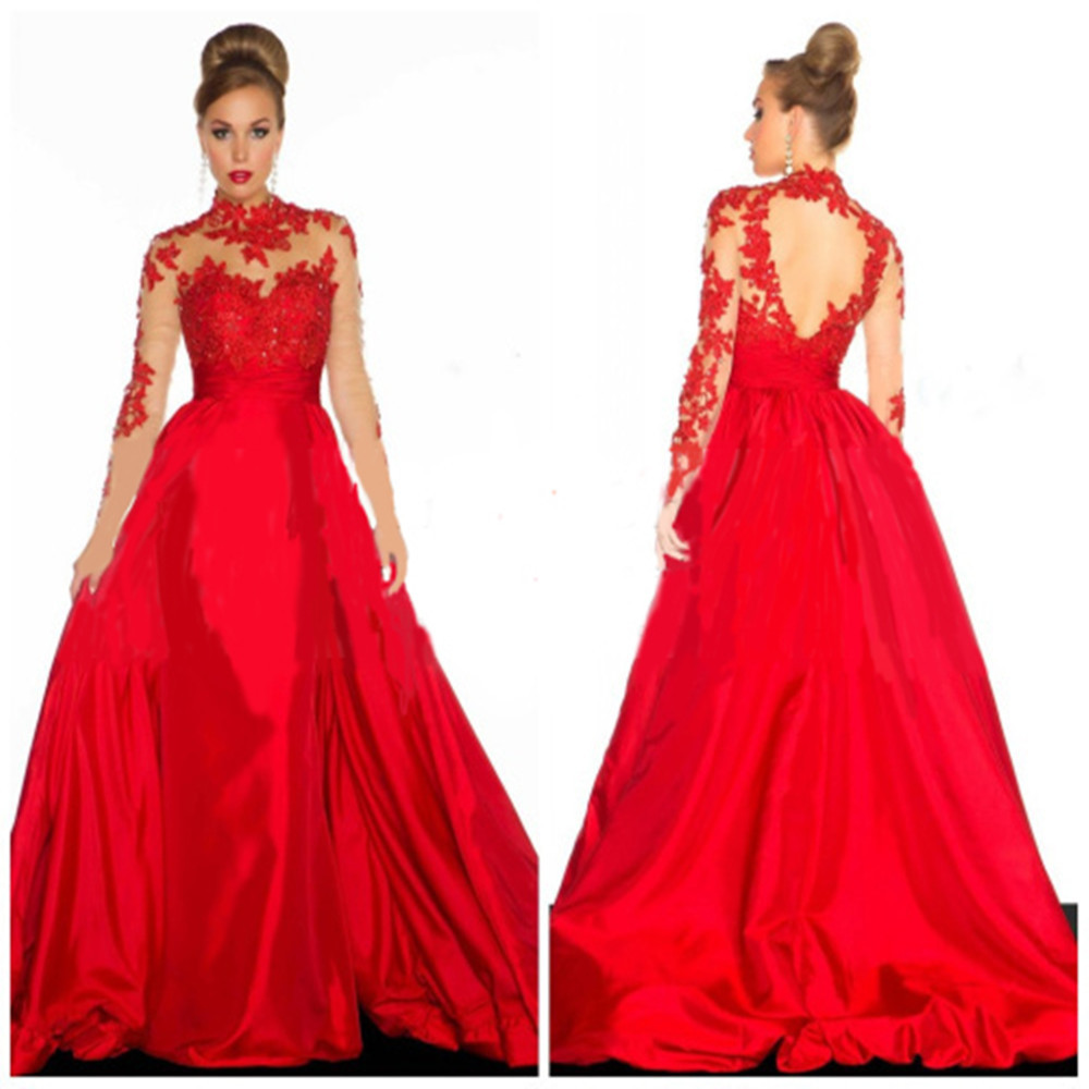 Indian Saree Bridal For Sale Fashion Backless High Neck A-line Long Sleeve Lace Appliuqes Red Evening Mother Of The Bride Dress