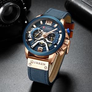 Image 2 - CURREN Luxe Merk Mannen Analoge Lederen Sport Horloges mannen Militaire Horloge Mannelijke Datum Quartz Klok Relogio Masculino 8329