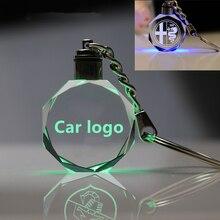Светящийся светодиодный брелок для ключей от автомобиля, кольцо для ключей, стекло, логотип автомобиля, кристалл, брелок для ключей, брелок для V-W A-udi B-enz светодиодный логотип