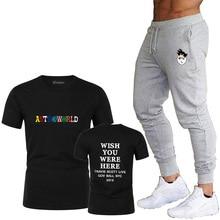 цена на 2020Hot Hip Hop T-Shirt Men Travis Scotts Astroworld Harajuku T-Shirt Hope You Are Here Letter Print T-Shirt Men's Track Pants S