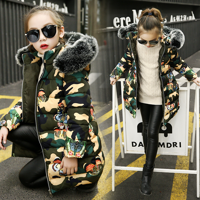Childrenswear Girls Autumn And Winter Warmth Retention Material Cotton-padded Jacket Women's Big Boy Camouflage Butterfly Cotton