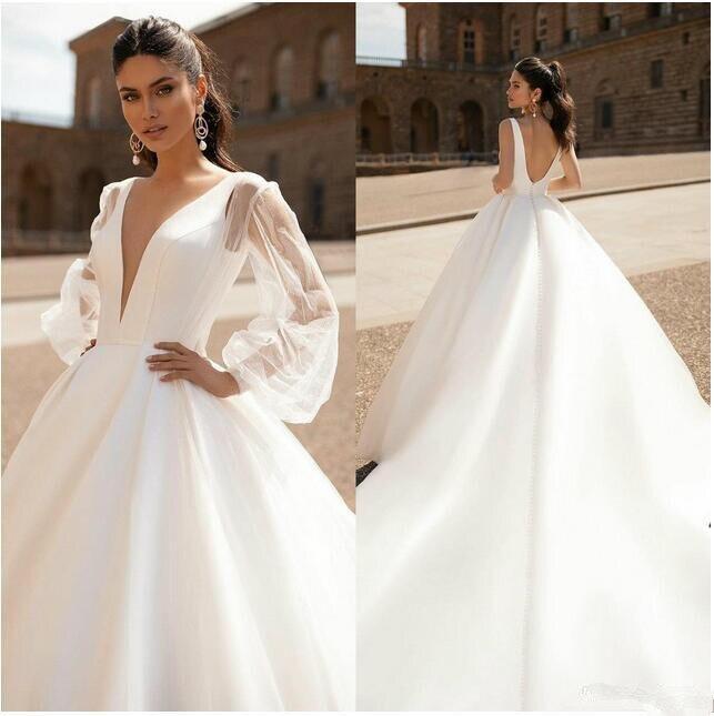 2020 Wedding Dresses With Wrap Bridal Gowns Deep V Neck Robe De Mariée Plus Size Wedding Dress