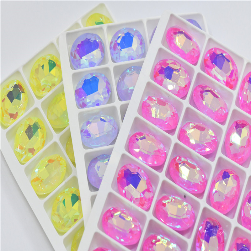 OVAL cuentas cristal rhinestones crystal applique needlework craft supplies 13mmx18mm
