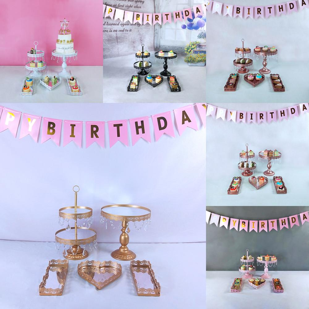 5pc mirror gold cupcake stand Desserts display rack decoration arrangement wedding cake stand set birthday cake decorating tools