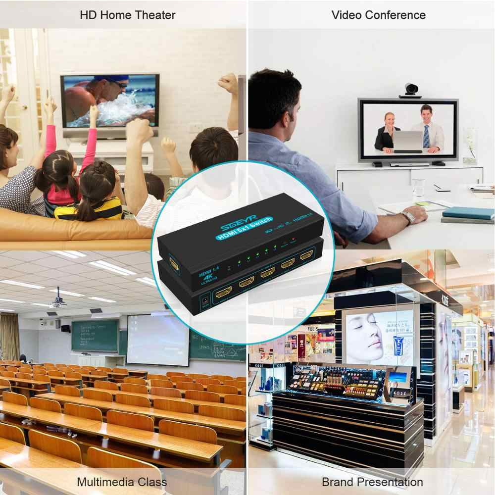 Sgeyr Bộ Chia HDMI Switch 5 Đầu Vào 1 Đầu Ra HDMI Switcher 5X1 4K HDMI Chuyển Đổi Dành Cho Xbox 360 PS4/3 Thông Minh Android HDTV