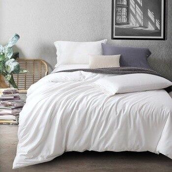 Juego de cama de algodón egipcio de color puro, funda de edredón