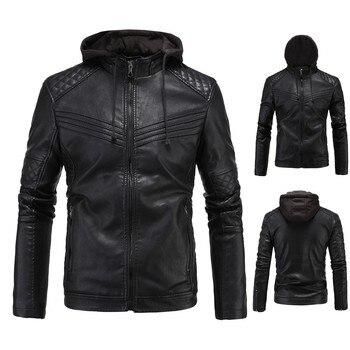 New Autumn Winter Men Casual Leather Jacket Bomber Stand Collar Polyester Jacket Biker Motorcycle Zipper Outwear Hoodie Coat