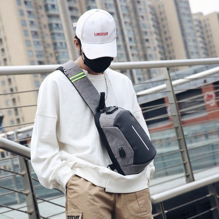 1606 # Password Lock Men Chest Pack USB Charging Backpack Nylon Waterproof Casual Shoulder Bag Small Shoulder Bag