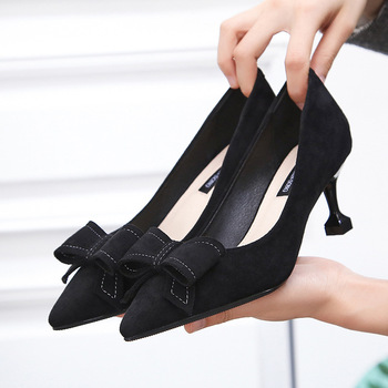 9CM Spring Fashion Bowknot Shallow Mouth Womens Single-pointed Pointed Stiletto Work Shoes High Heel Women