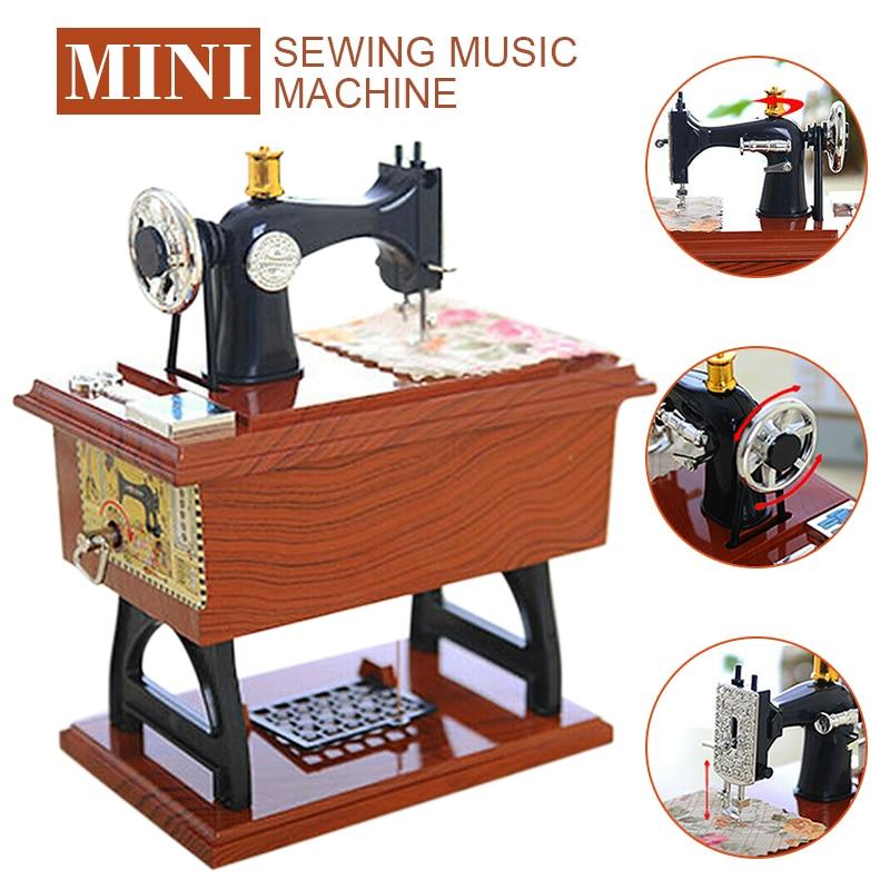Музыкальная шкатулка, миниатюрная швейная машинка, механическая винтажная Музыкальная шкатулка с заводным механизмом, рождественские под...