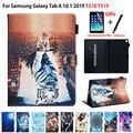 Для Samsung Galaxy Tab A 10 1 2019 чехол T510 T515 SM-T510 SM-T515 чехол Funda планшет с животным узором подставка Капа оболочки кожи + подарок