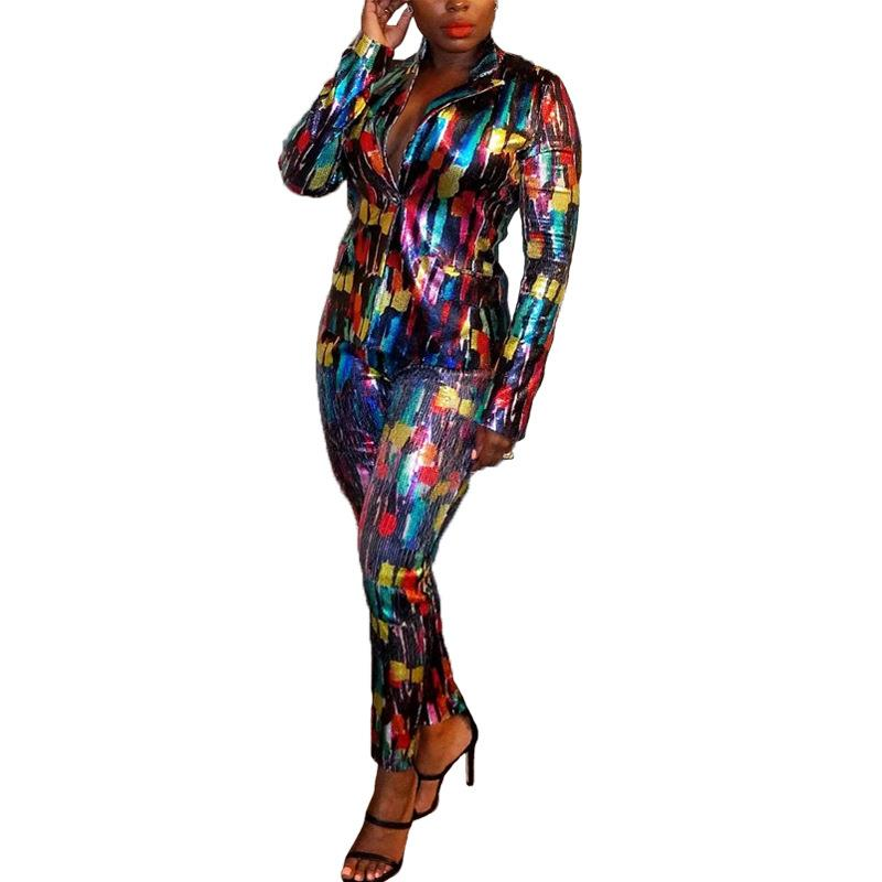 Women Tracksuit Full Sleeve Sequined Print Blazers Pants Suit Notched Office Lady Casual Elastic Waist Pants Two Piece Set