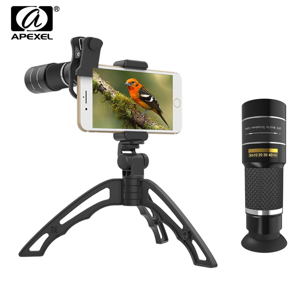 Apexel mobile phone camera lens 20X Zoom Telescope monocular lenses with tripod&Bluetooth For iPhone7 Samsung for sports concertMobile Phone Lens   -