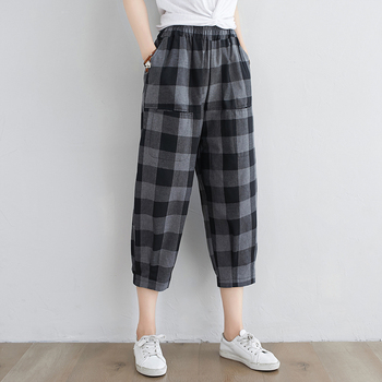 Cotton Linen Harajuku Plaid Pants For Women Vintage Trousers Slim Fit Streetwear Woman Summer Causal Calf Length Harem Pants summer harem pants for baby girl clothes cotton and linen pants trousers ankle length flower print pants children leggings